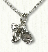 Sterling Silver 3D Boxing Gloves Charm