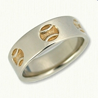Custom Reverse Etch Baseball Wedding Band